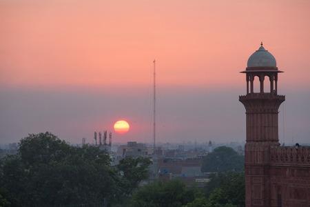Lahore city scape with mosque minaret, Pakistan