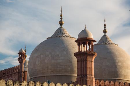 The Emperors Mosque - Badshahi Masjid in Lahore, Pakistan Dome with Minarets Closeup Stock Photo