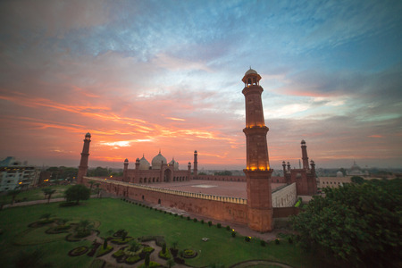 The Emperor's Mosque - Badshahi masjid wide angle full exterior at sunset
