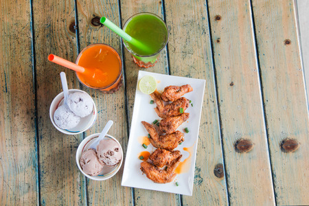 Chicken Wings Ice Cream and Drinks