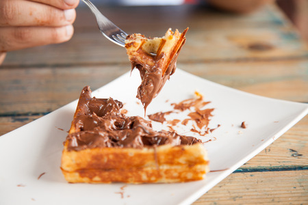 chocolate waffle bite with fork