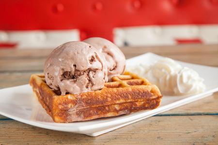 Ice cream Waffle chocolate whipped cream