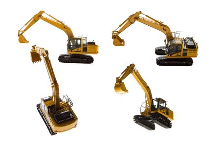 Excavator construction machinery four angles isolated on a white background 写真素材