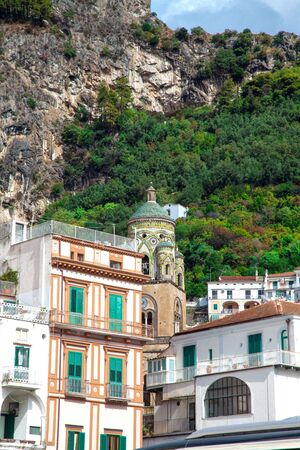 Saint Andrew Cathedral Tower at Amalfi Coast, Italy 写真素材