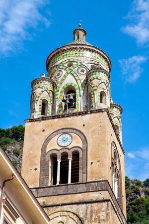 Saint Andrew Cathedral Tower Closeup at Amalfi Coast, Italy 写真素材