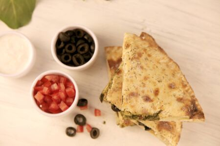 Healthy Stuffed Calzone Naan with Greens and Vegetables, Chicken Olives Herbs 写真素材