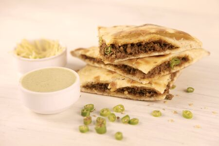 Smoked Minced Meat Stuffed Naan with Green Chillies