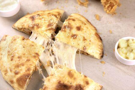 Crispy Fried Chicken Stuffed Naan with Mozzarella Cheese 写真素材