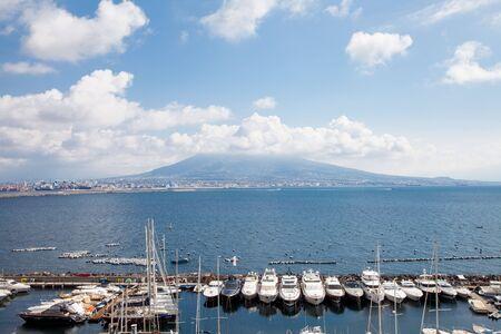 Vesuvius view from Catel dellovo in Naples of Bay and boats. 写真素材