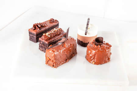 Cold chocolate pudding mousse cake pastries