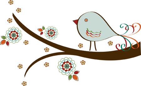 birdie: Bird su Filiale con Fiori
