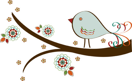 Bird on Branch with Flowers