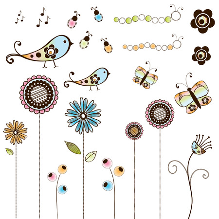 Set of Doodle Bugs & Flowers Stock Vector - 4712776