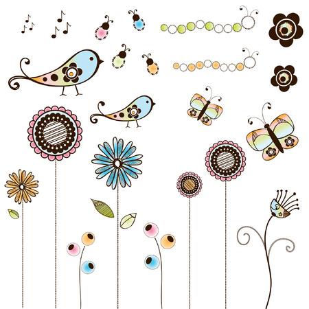 Set of Doodle Bugs & Flowers Ilustrace
