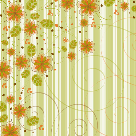 Retro Flowers on Striped Background