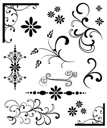 黒の飾りのセット  イラスト・ベクター素材