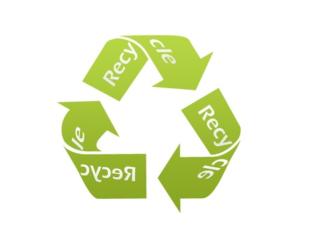 Green recycle icon and logo with gradient photo