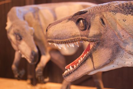 huge dinosaurs mouth with razor sharp teeth