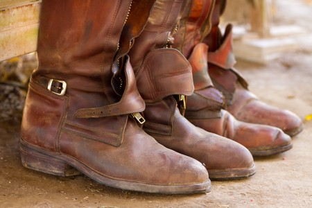 Riding boots, ready for a game of polo.