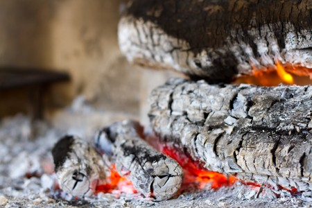 Wooden camp fire  Stock Photo