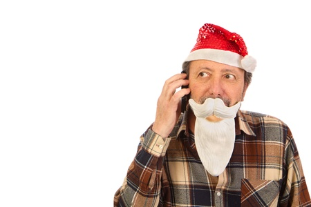 Santa Claus, using the cell fone Stock Photo