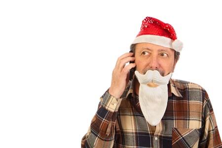 Santa Claus, using the cell fone Reklamní fotografie