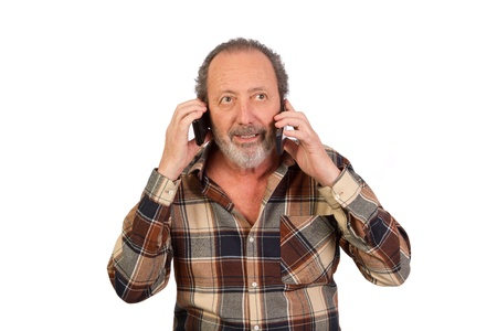 Man talking on two cell phone photo
