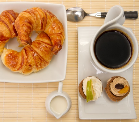 croissants: Breakfast served on a sunny morning