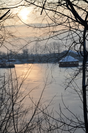 Sunset in Gyomro in winter photo