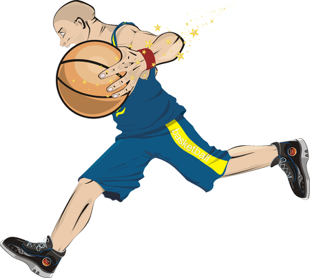 A basketball-player hurries with a ball Stock Vector - 4416970