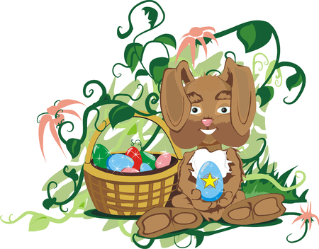 Small bunny with basket Vector