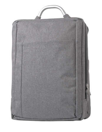 Light gray backpack textile with aluminum handle. On a white background
