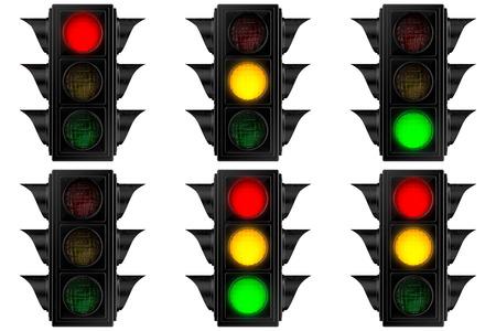 3D illustration of a set of American Traffic Lights