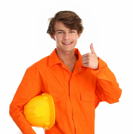 boiler suit: A man in an orange boiler suit, with a yellow hard hat showing a thumbs up sign
