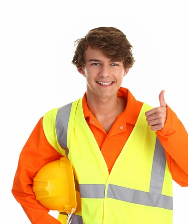 boiler suit: a man wearing safety equipment such as hardhat, hiviz vest and boiler suit with a thumbs up sign.
