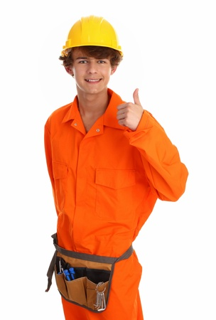 workman with hard hat and tool set Stock Photo - 10051633
