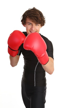 guy with boxing gloves in a stance Stock Photo