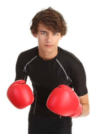boxing guy with a serious expression on his face photo