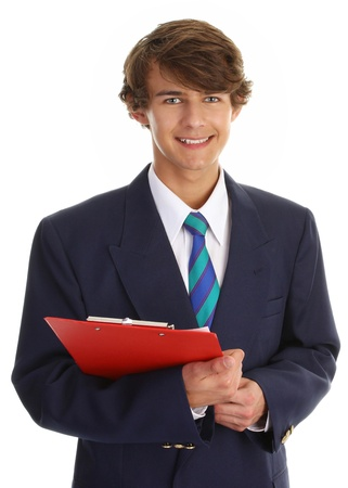 businessman with a red clipboard and a blue blazer Stock Photo - 10203323