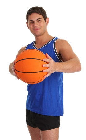 Smiling guy holding a basketball photo