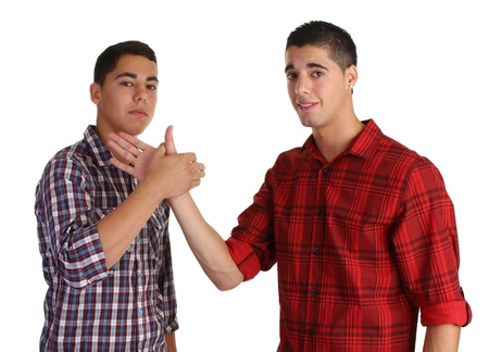 two friends meeting joinging their hands Stock Photo - 10341522