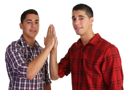 two guy with a hi five Stock Photo - 10341524