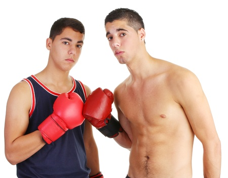 match box: Two guys pushing gloves together Stock Photo