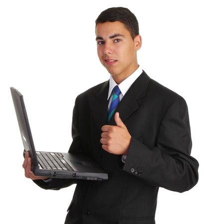 A guy holding a laptop with a thumbs up sign photo
