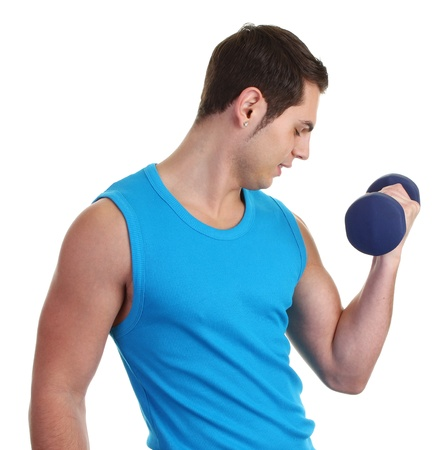 A guy lifting a dumbell with a blue vest photo