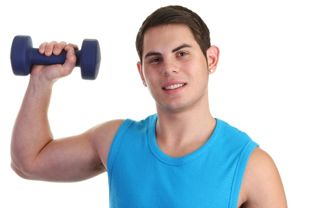 Guy lifiting a dumbell in a blue vest Stock Photo - 11135389