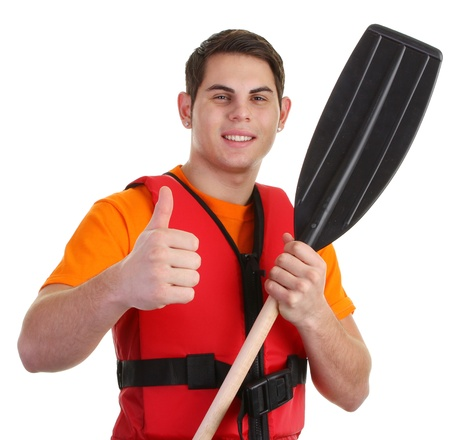 A guy wearing lifejacket with a thumbs up sign