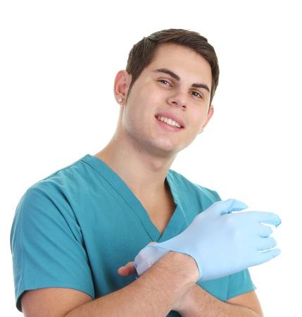 スクラブ、医療用手袋に置くことで医師