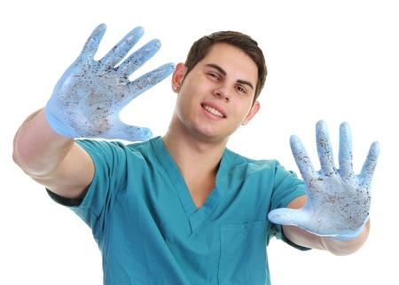 manos sucias: Un m�dico con las manos sucias Foto de archivo
