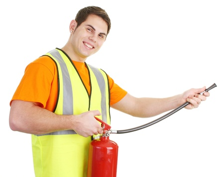 fire extinguisher: A guy wearing a hiviz jacket and holding a fire extinguisher